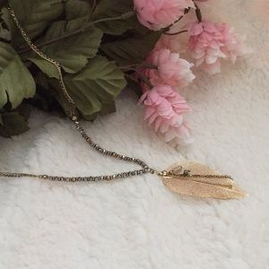 Gold Leaf Necklace 30 inch